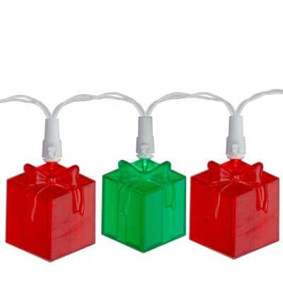 Set of 20 Red and Green LED Present Novelty Christmas Lights in White Wire