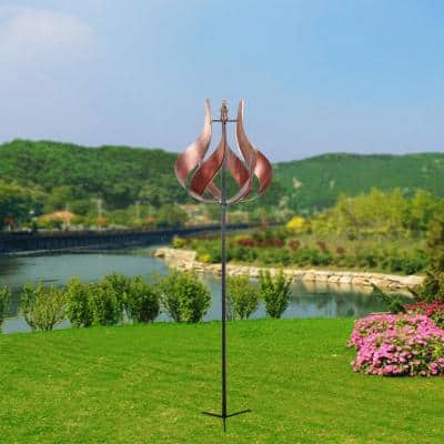 Outdoor Tulip Kinetic Windmill - Tangerine