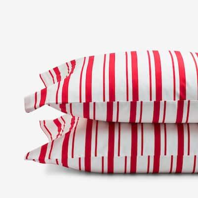 Company Kids Stripe Red Organic Cotton Percale Standard Pillowcase (Set of 2)
