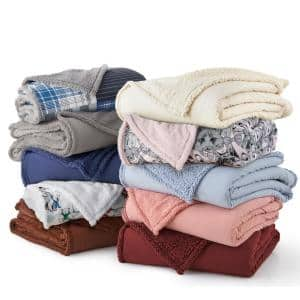 Queen Wedgewood Sherpa Back Polyester Blanket