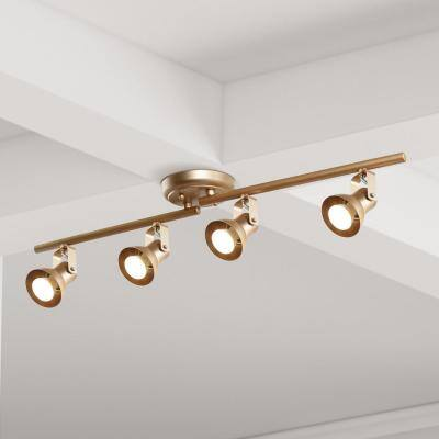 2.4 ft. 4-Light Modern Gold LED Ceiling Fixed Track Lighting Kit with Adjustable Bars and Rotating Track Heads