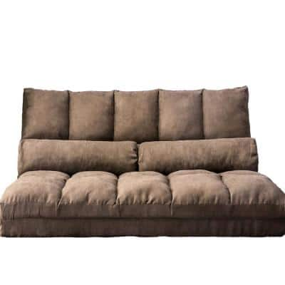Brown Flip-Floor Futons Sofa Chair Convertible Recliner / Folding Bed with Two Pillows