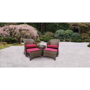 Tacoma Multi-Brown 5-Piece Wicker Patio Conversation Set with Red Cushions