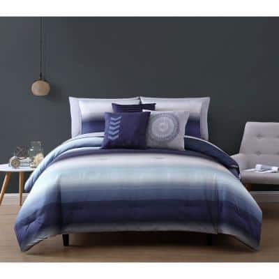 Cypress 8 Piece Navy/Grey Twin Bed in a Bag Comforter Set