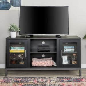 Avenue 52 in. Black MDF TV Stand 55 in. with Adjustable Shelves