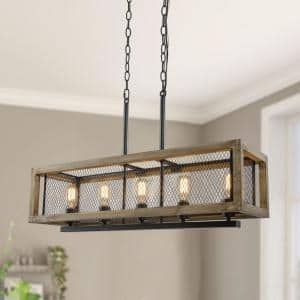 5-Light Black Farmhouse Wood Cage Kitchen Island Chandelier Light with Wire Mesh