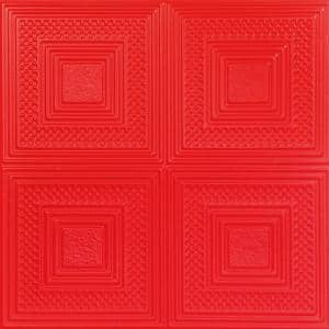 Nested Squares 1.6 ft. x 1.6 ft. Glue Up Foam Ceiling Tile in Red