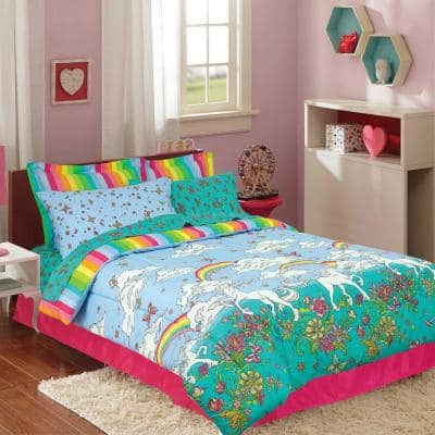 Unicorn Rainbow Twin Multicolored Bed in a Bag with Reversible Comforter