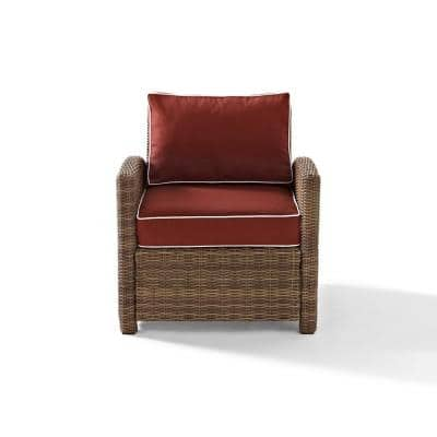 Bradenton Wicker Outdoor Lounge Chair with Sangria Cushions