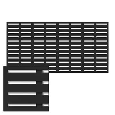 3 ft. x 6 ft. Black Vinyl Boardwalk Decorative Screen Panel