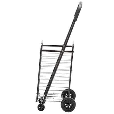 Steel Rolling 4-Wheel Utility Cart in Black