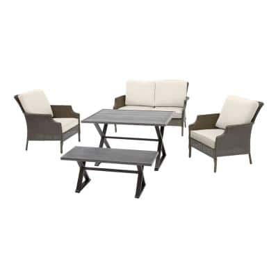 Grayson 5-Piece Ash Gray Wicker Outdoor Patio Dining Set with CushionGuard Almond Tan Cushions