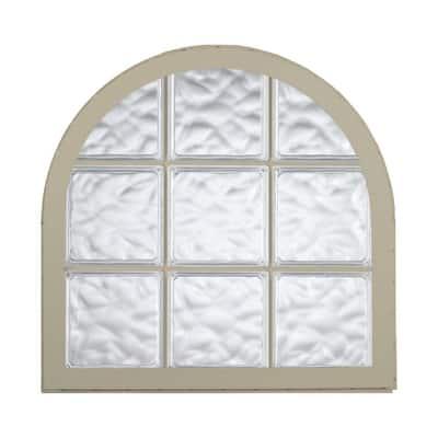 42 in. x 50 in. Acrylic Block Round Top Vinyl Window in Tan