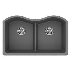 Quartz Classic Greystone Quartz 33 in. Equal Double Bowl Undermount Kitchen Sink with Aqua Divide