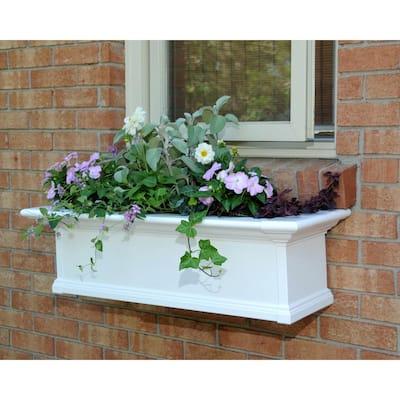 36 in. x 12 in. White Plastic Self-Watering Window Box