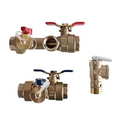 1 in. Lead Free Sweat Isolation Valve Kit with Male 500K Btuh Pressure Relief Valve for Select Tankless Water Heaters