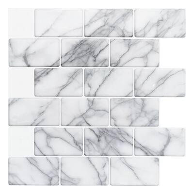 Subway Tile Marble Gray 12 in. x 12 in. Vinyl Peel and Stick Backsplash Tile (8.42 sq. ft./Pack)