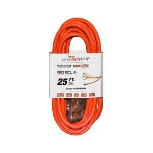 25 ft. 12/3 3-Outlet SJTW 15 Amp 125-Volt 1875-Watt Orange Indoor/Outdoor Heavy-Duty with Lighted End Extension Cord