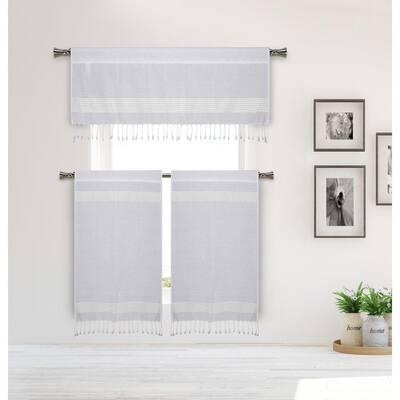 White-Silver Striped Rod Pocket Room Darkening Curtain - 15 in. W x 58 in. L (Set of 3)