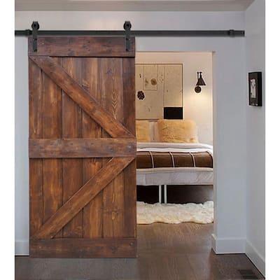 36 in x 84 in K Series DIY Dark Walnut Finished Knotty Pine Wood Sliding Barn Door Slab with Hardware Kit