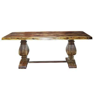 Live Edge 78 in. Rectangle Burnt Brown/Chestnut Wooden Dining Table (Seats 6)