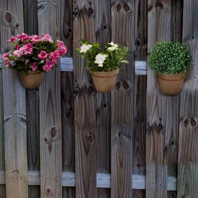 Small Composite Fence Pots Plain for Shadow Box Fences in a Dark Terracotta Finish (Set of 3)