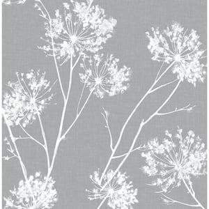 One O'Clock Cove Grey Floral Vinyl Peel & Stick Wallpaper Roll (Covers 30.75 Sq. Ft.)