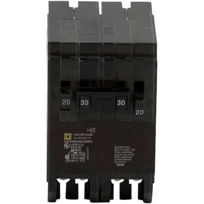 Homeline 2-20 Amp Single-Pole 1-30 Amp 2-Pole Quad Tandem Circuit Breaker