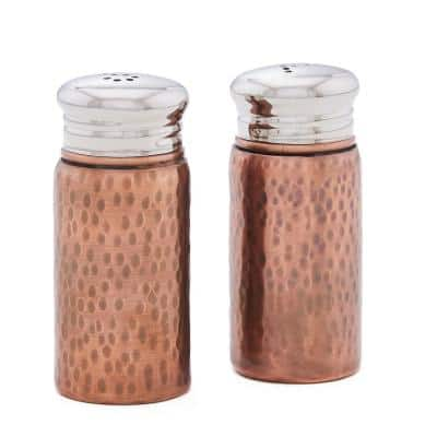 Hammered 3 in. H Antique Copper Salt & Pepper Shaker Set with Round Top