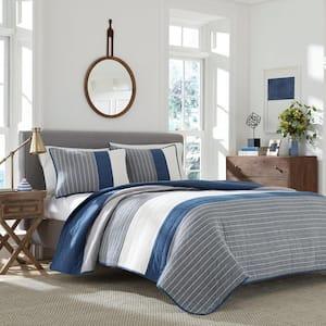 Swale 1-Piece Dark Blue Striped Cotton Full/Queen Quilt