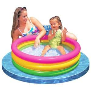 Sunset Glow 34 in. x 10 in. D Round Inflatable Colorful Baby Swimming Pool, Multicolored