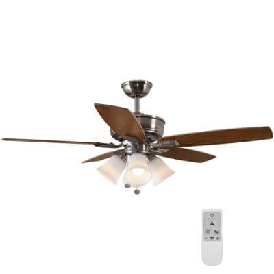 Devron 52 in. Indoor Brushed Nickel LED Smart Ceiling Fan with Light and Remote Works with Google Assistant and Alexa
