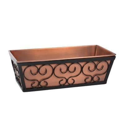 16 in. x 5 in. Black Metal Antique Copper Ledge Box Planter with Holder
