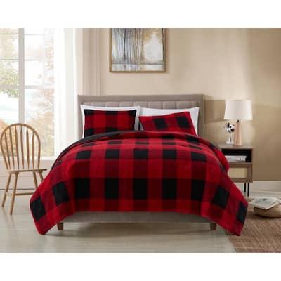 2-Piece Red/Black Plaid Microfiber Twin Comforter Set