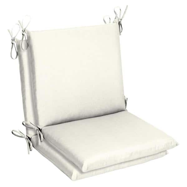 Home Decorators Collection Belcourt 19 X 36 Sunbrella Canvas White Mid Back Outdoor Dining Chair Cushion 2 Pack Ah1m550b D9d2 The Home Depot