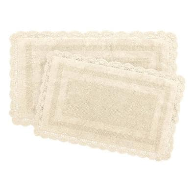 Crochet 100% Cotton 17 in. x 24 in./21 in. x 34 in. 2-Piece Bath Rug Set in Linen