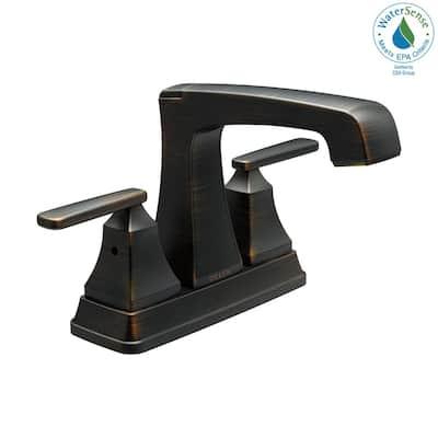 Ashlyn 4 in. Centerset 2-Handle Bathroom Faucet with Metal Drain Assembly in Venetian Bronze