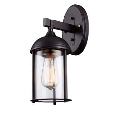 Blues 13.5 in. 1-Light Rubbed Oil Bronze and Antique Gold Outdoor Wall Lantern Sconce