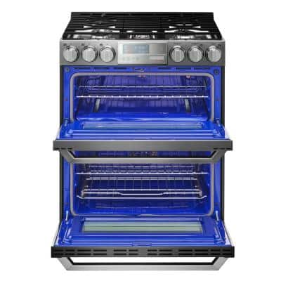 6.9 cu. ft. Smart Double Oven Slide-In Gas Range with ProBake Convection & Wi-Fi Enabled in Textured Steel