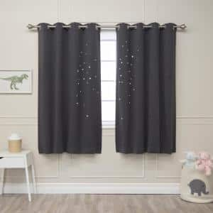 Dark Grey Geometric Grommet Blackout Curtain - 52 in. W x 63 in. L (Set of 2)