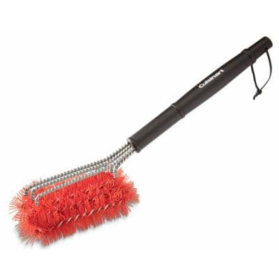3-in-1 Triple-Threat Nylon Bristle Grill Brush for Cleaning Cold Grill Grates