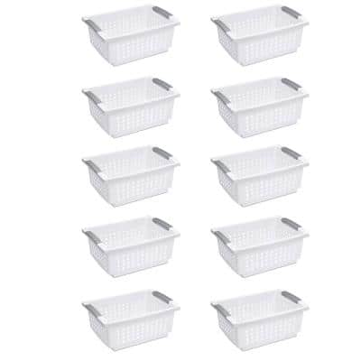 14.75 in. L x 10.75 in. W x 6.25 in. H White Plastic Medium Home Stackable Storage and Organizer Basket (10-Pack)