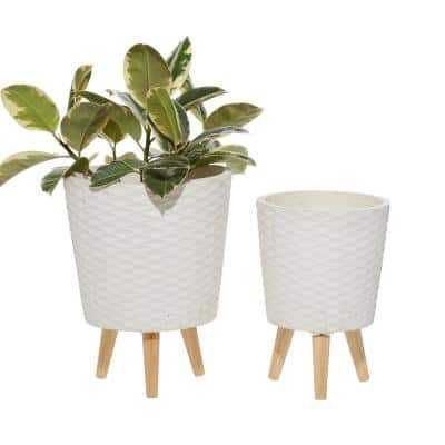 14 in. and 16 in. White Textured Round Fiberclay Planters (Set of 2)