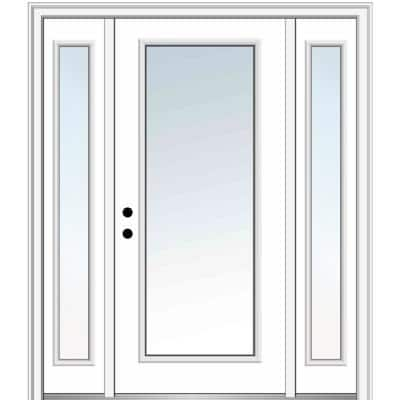 68.5 in. x 81.75 in. Classic Right-Hand Inswing Full Lite Clear Painted Steel Prehung Front Door with Sidelites
