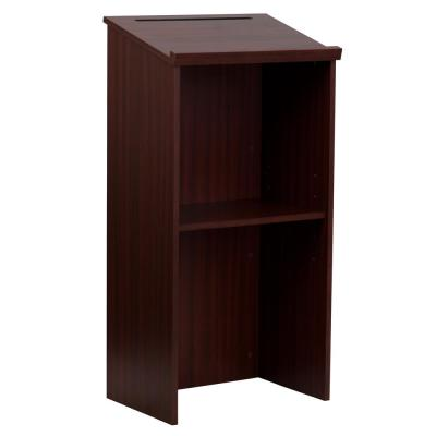 23 in. Dark Brown Rectangular Standing Desks with Shelf