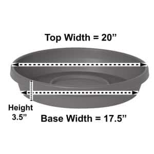 Terra 20 in. Charcoal Plastic Plant Saucer Tray