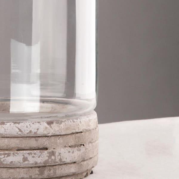 Zentique Cement Glass Distressed White Decorative Vase 5754l The Home Depot