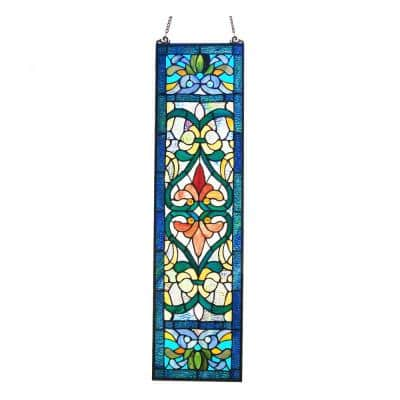 Victorian Stained Glass Fleur De Lis Window Panel