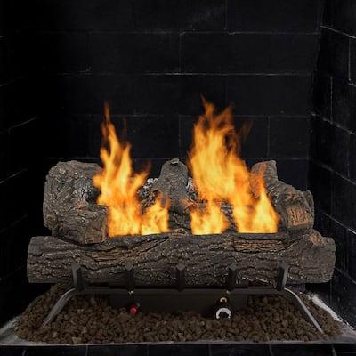 Southern Oak 24.25 in. Vent-Free Dual Fuel Gas Fireplace Logs