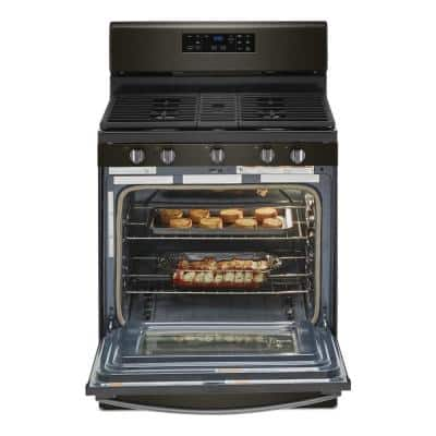 5.0 cu. ft. Gas Range with Self Cleaning and Center Oval Burner in Black Stainless